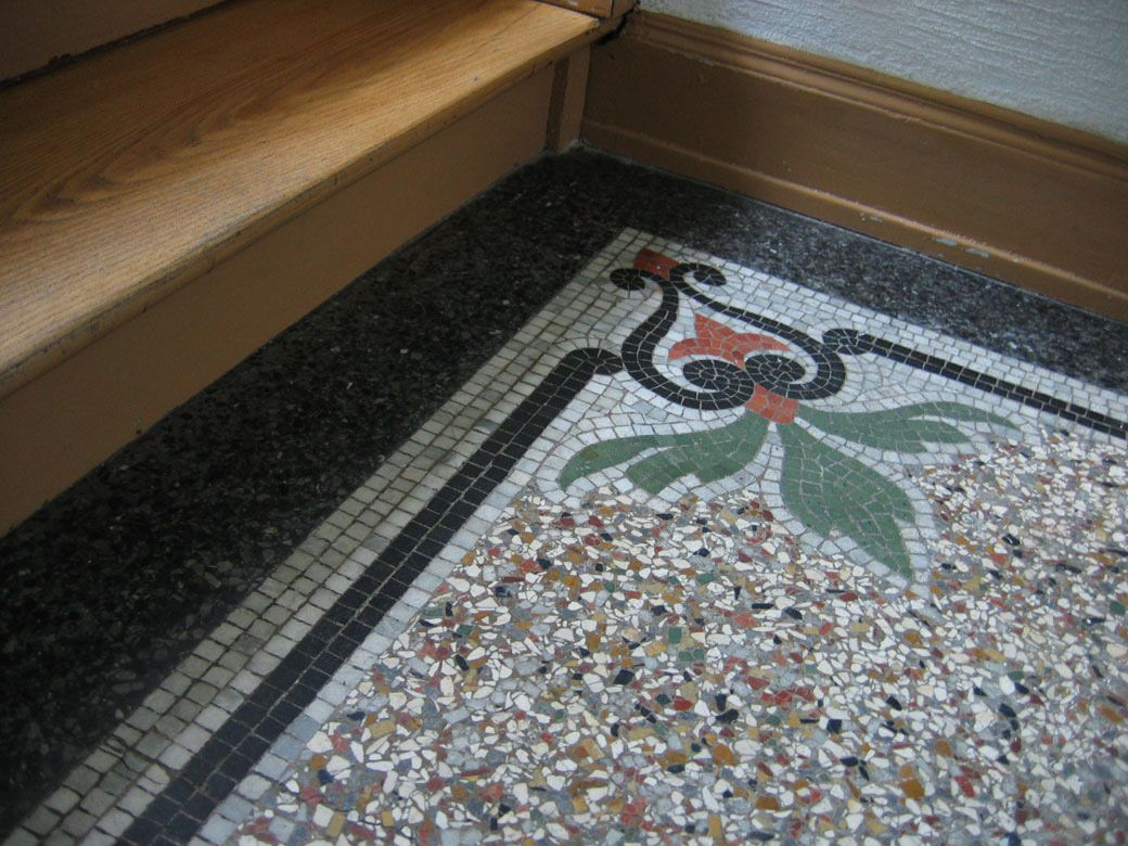 How awesome would this be in my house? terrazzo floors mixed with a mosaic  border