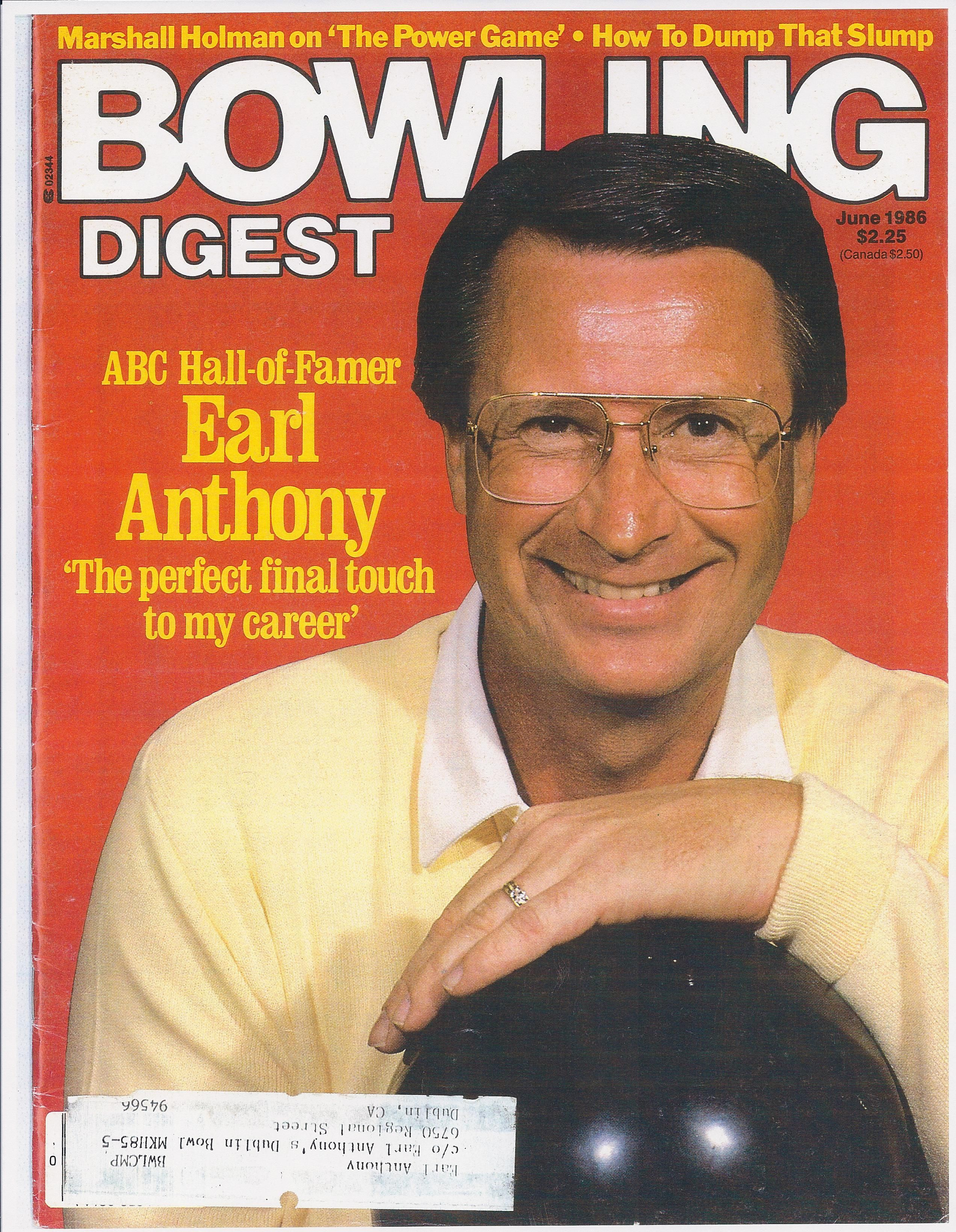 Earl Anthony 1986 Bowling Digest Abc Hall Of Fame Bowling Anthony Photo Magazine
