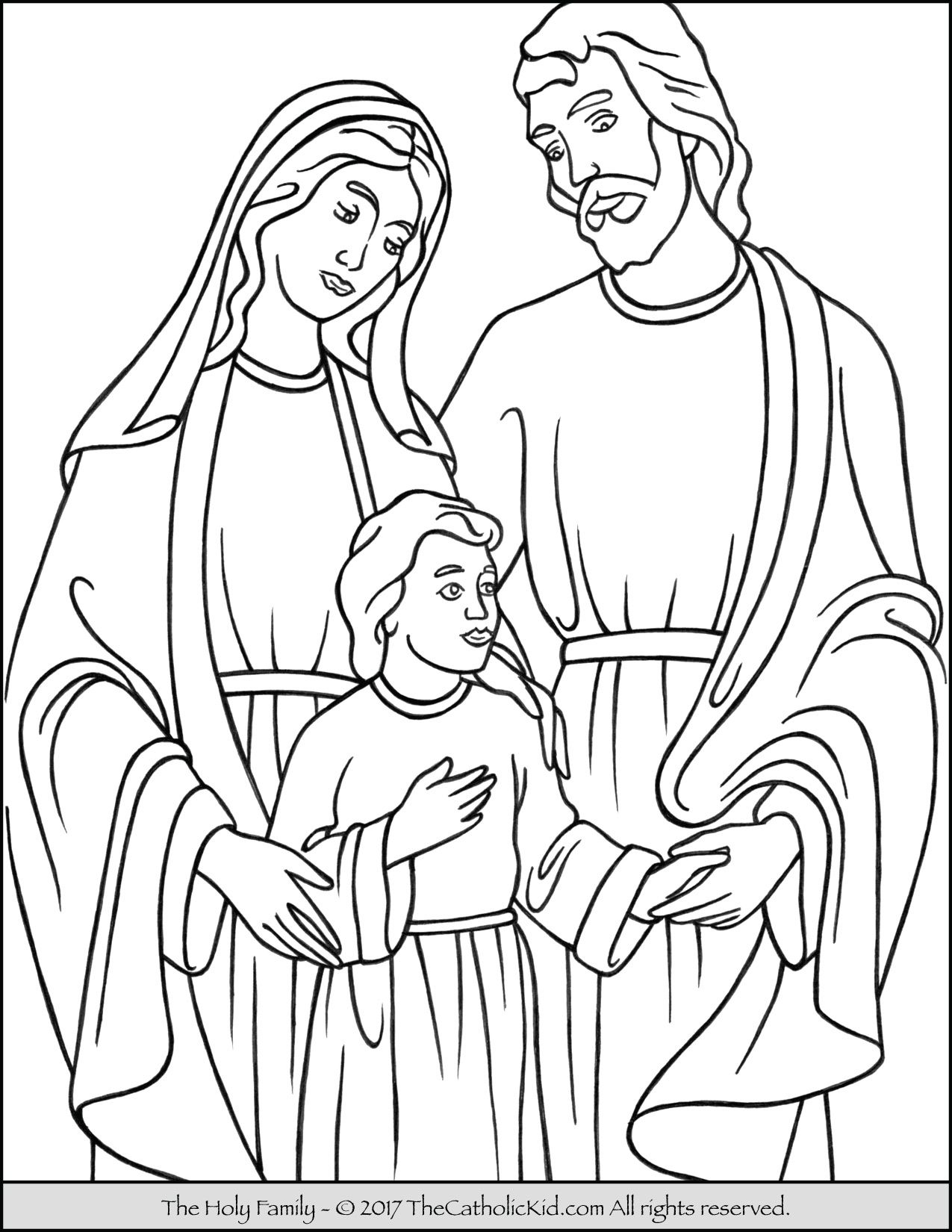 Holy Family Coloring Page Thecatholickid Com Family Coloring