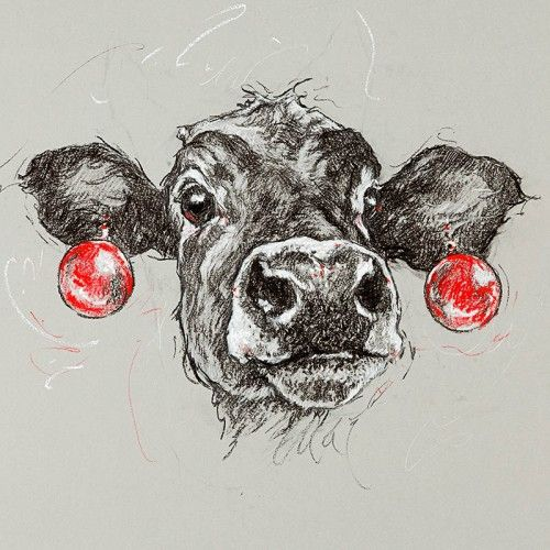 Cow, Moo, Baubles, Sketch, Earrings, Christmas, Party, Eccentric, Drawing, Black and White, Funny, Cute, Art, Artist:- available to purchase online.