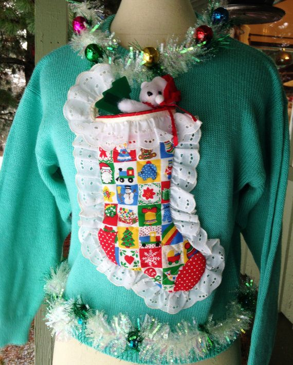 Clearance Ugly Christmas Sweater Tacky Petite Medium Aqua With