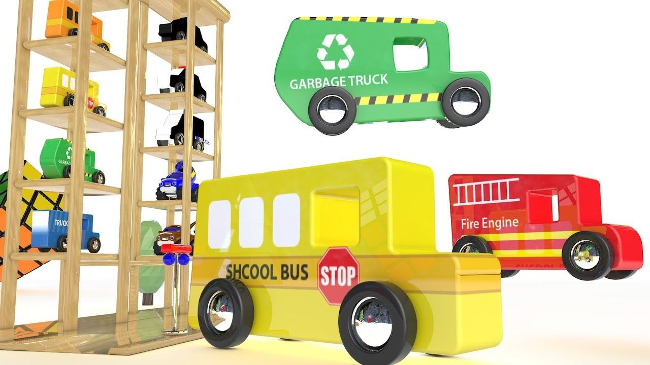 Educational car toys  Learn Colors for Children with Color Toy Vehicles Parking Wooden Toy