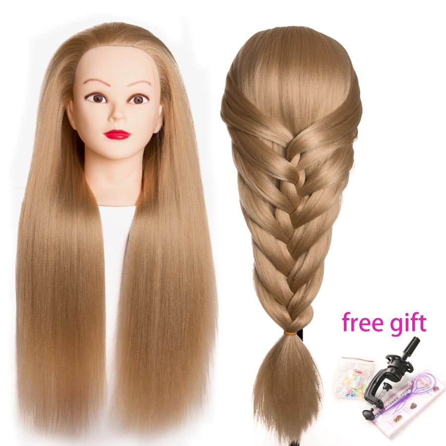Synthetic Mannequin Head Dolls For Hairdressers 65 Cm Hair Hairstyles Female Hairdressing Styling Training Head Heat Resistant Hair Styles Thick Hair Styles Mannequin Heads