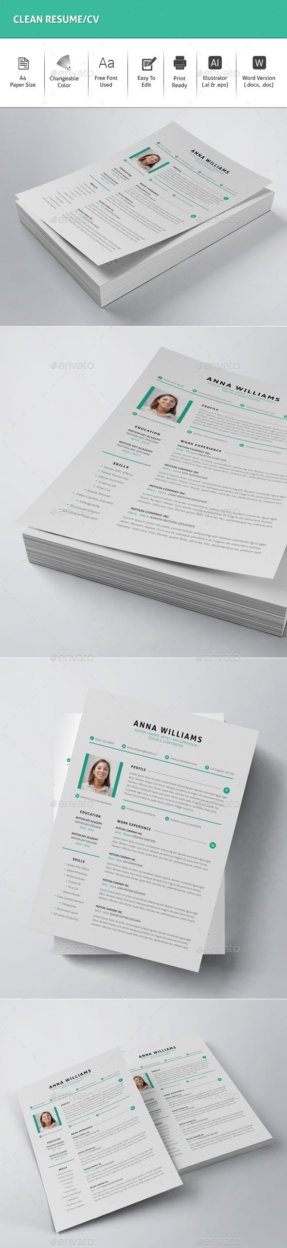 Resume Template Word Download%0A Clean  Resume CV  Resumes Stationery Download here  https   graphicriver
