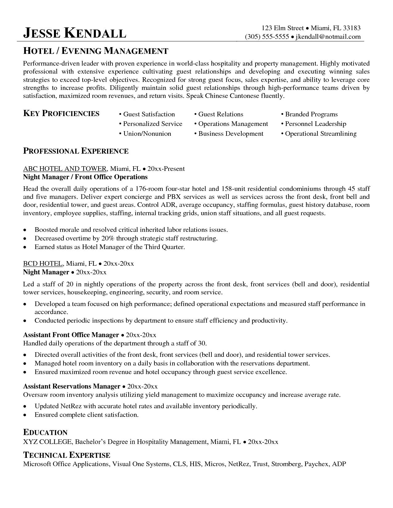 Hotel Management Resume Sample, Hotel Management Resume