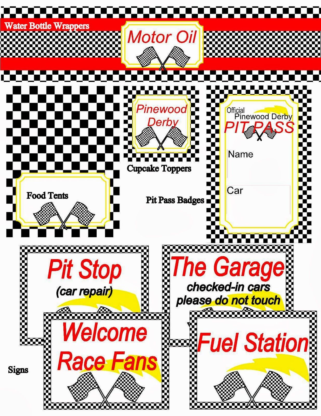 Little Miss Scatter Brain Pinewood Derby Printables