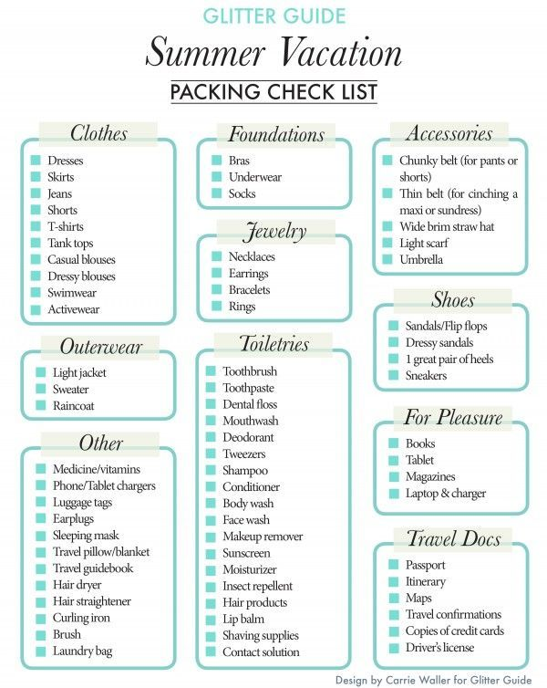 Summer Vacation Packing Checklist Vacation, Romantic travel and - packing slips for shipping