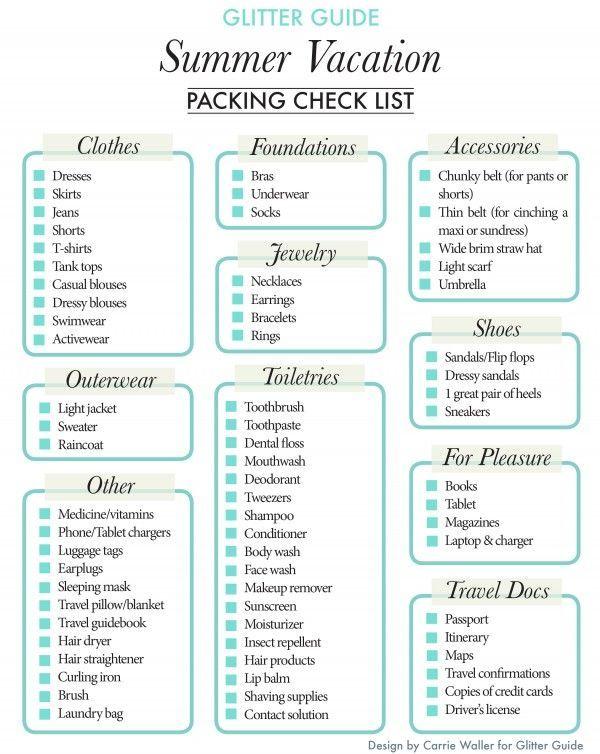 Summer Vacation Packing Checklist Life Hacks Pinterest