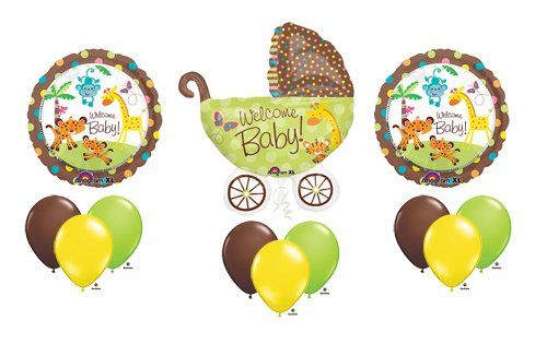 Fisher Price Welcome Baby Shower Balloons Monkey Decorations Boy