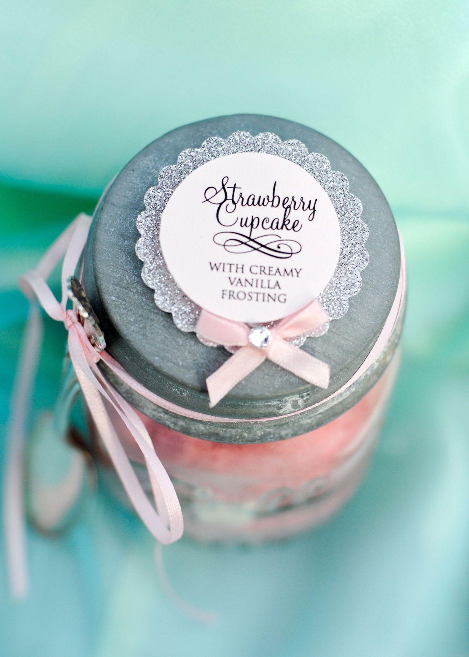 strawberry cupcake in a jar Glitter cupcake