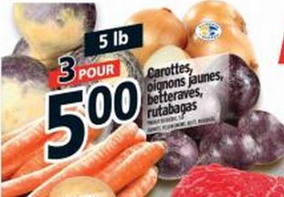 Coupons et Circulaires: 1,66$ Carottes, Oignons, Navets, Betterave 5 lbs