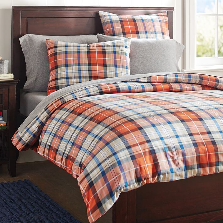 Fieldhouse Plaid Pottery Barn Sheets: Field House Plaid Duvet Cover, Full/Queen, Orange