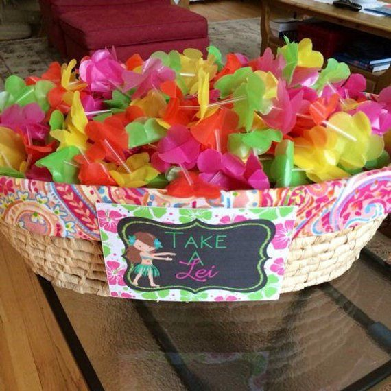 Hawaiian Luau Take a Lei Sign, Hawaiian Luau Printable,  5x7, Luau Birthday, Hawaiian Luau Party- #hawaiianluauparty