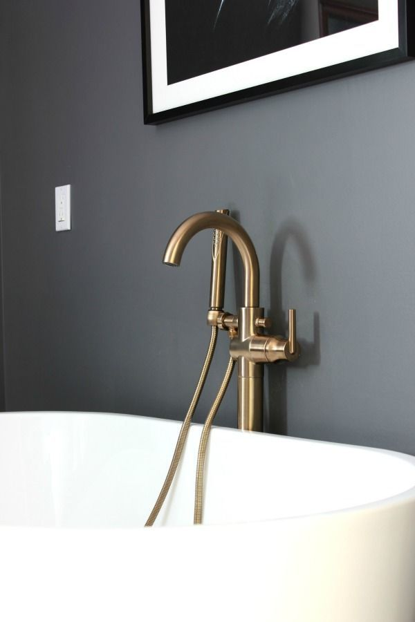 photos of remodeled bathrooms%0A Master Bathroom Remodel   Delta Trinsic Floor Mount Tub Filler in Champagne  Bronze