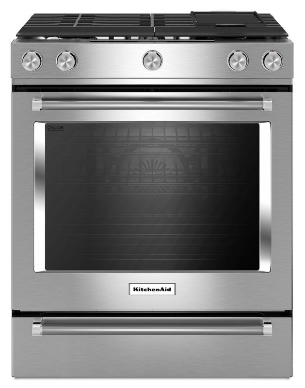 kitchenaid ksgb900e 30 inch wide 6 5 cu ft slide in gas range with rh pinterest com