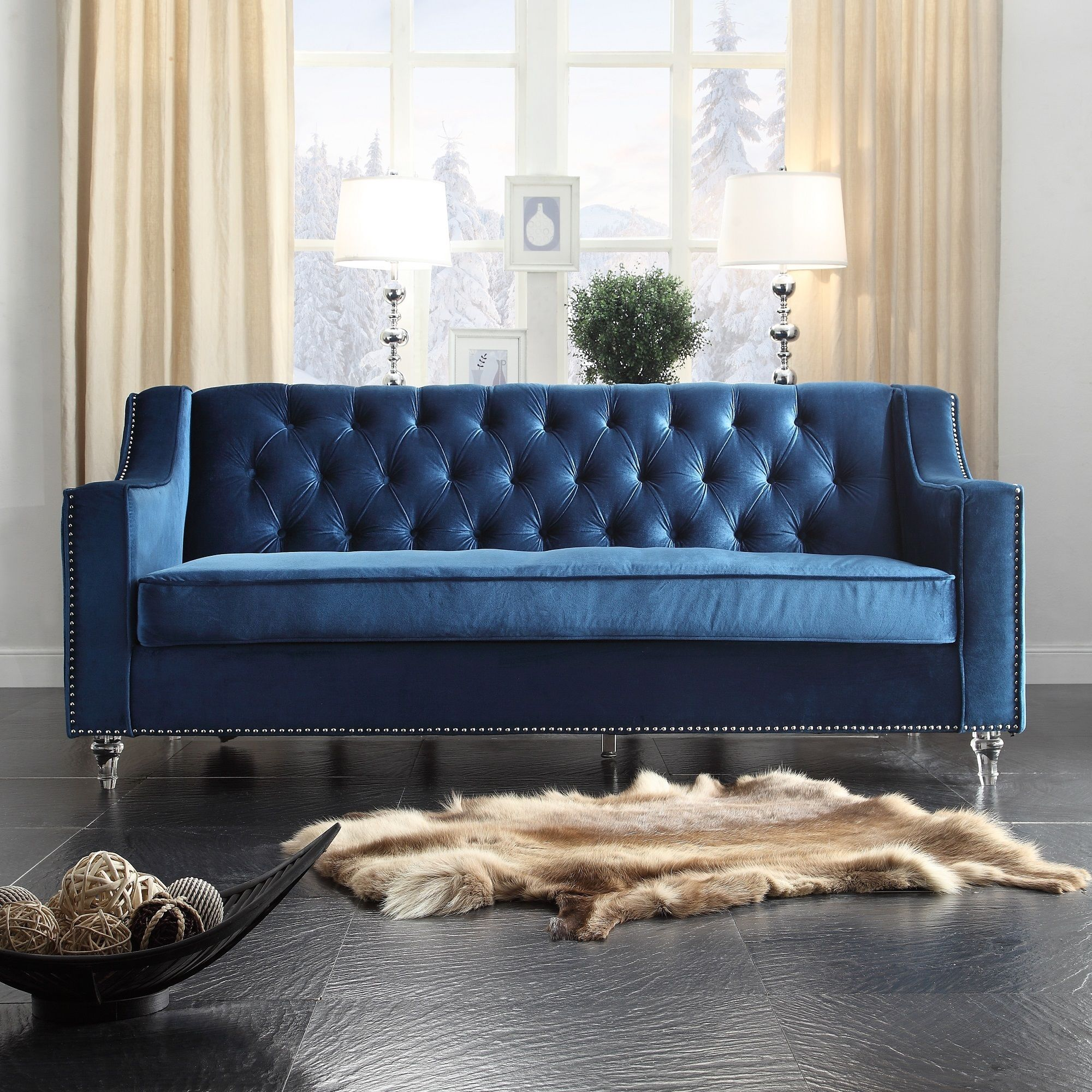 Chic Home Dylan Velvet Button tufted with Silver Nailhead Trim