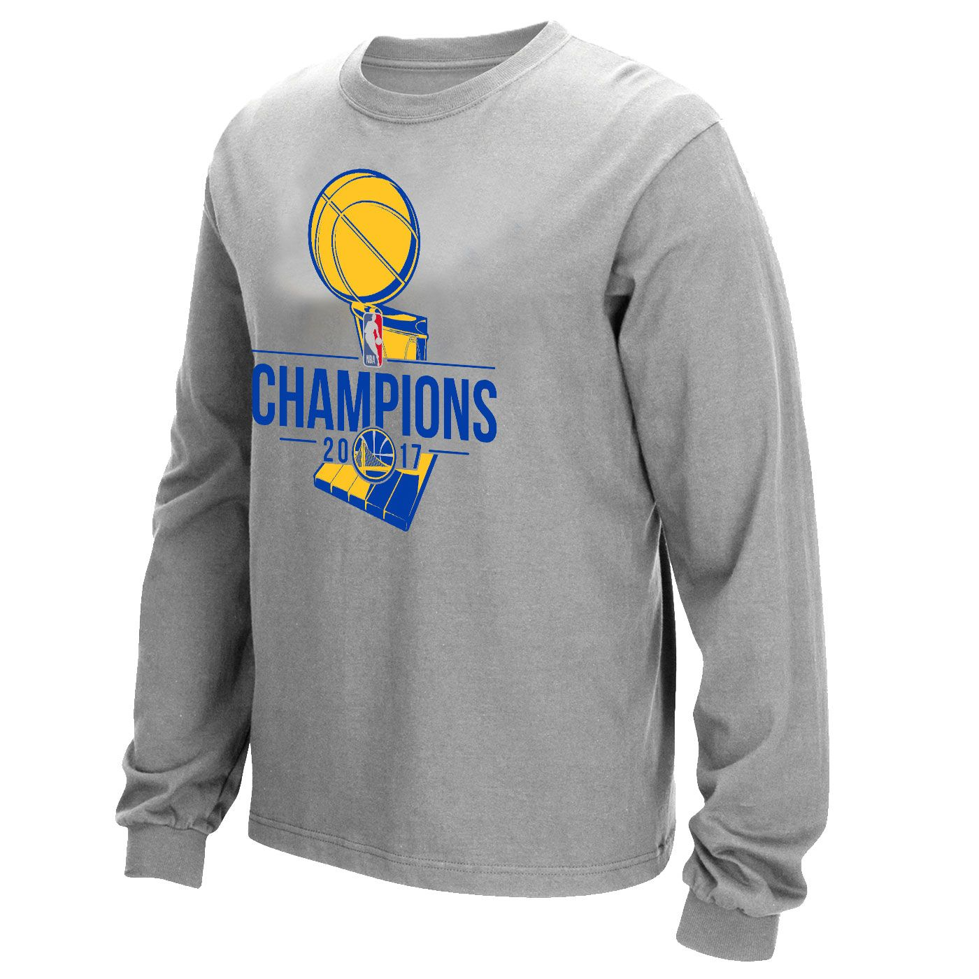 cf5a537c2bf Golden State Warriors 2017 NBA Finals Champions Primary Logo Long Sleeve Tee  - Grey
