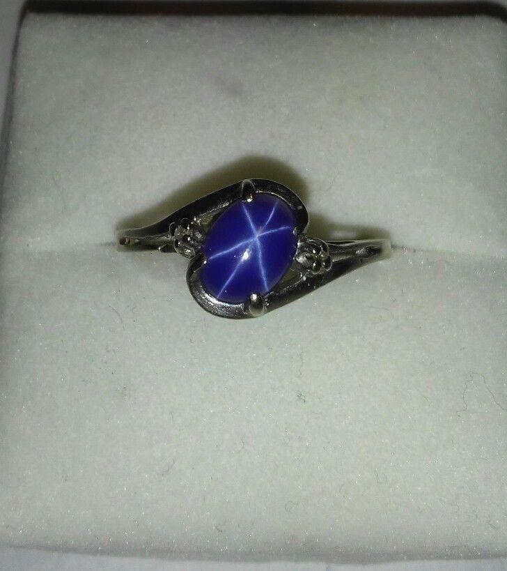 Vintage 10k W G Natural Blue Star Sapphire Diamond Accent Ring Truebright Truebright Blue Star Sapphire Diamond Accent Ring Star Sapphire