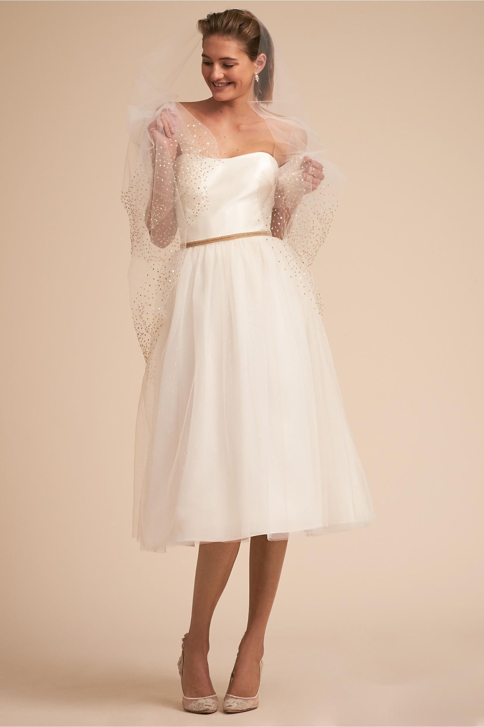 BHLDN Hamilton Gown Ivory- if I were to wear a short dress, I love ...