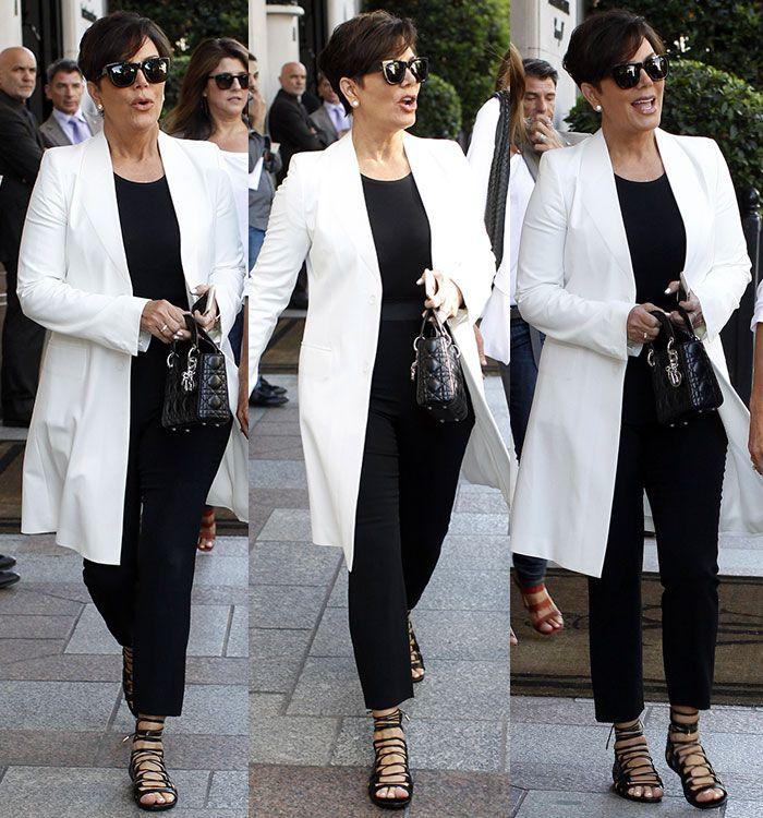 "d4b1e330de1 Kris Jenner Amps Up Her Understated Monochrome Look with Aquazzura ""Amazon""  Flats"