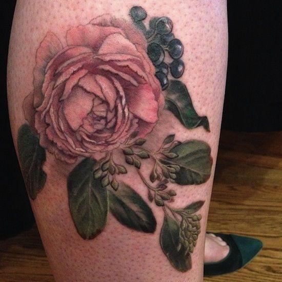 Peony On Leg By Esther Garcia Tattoo Artist Chicago Il Usa Tattoos Rose Tattoos Inspirational Tattoos