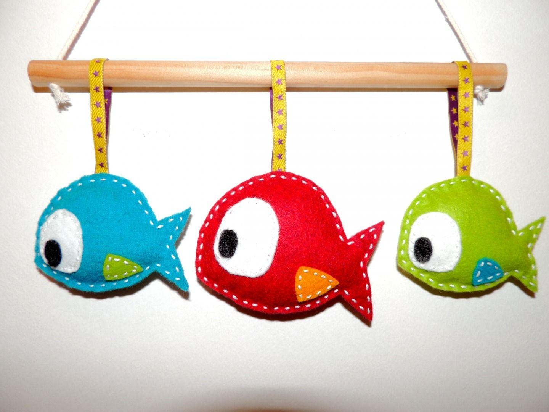 sur commande mobile original pour b b les petits poissons chambre d 39 enfant de b b par la. Black Bedroom Furniture Sets. Home Design Ideas