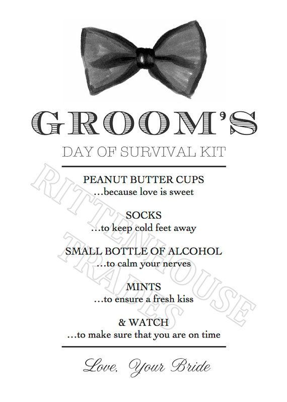 Groom S Day Of Survival Kit Printable Card By Rittenhousetrades