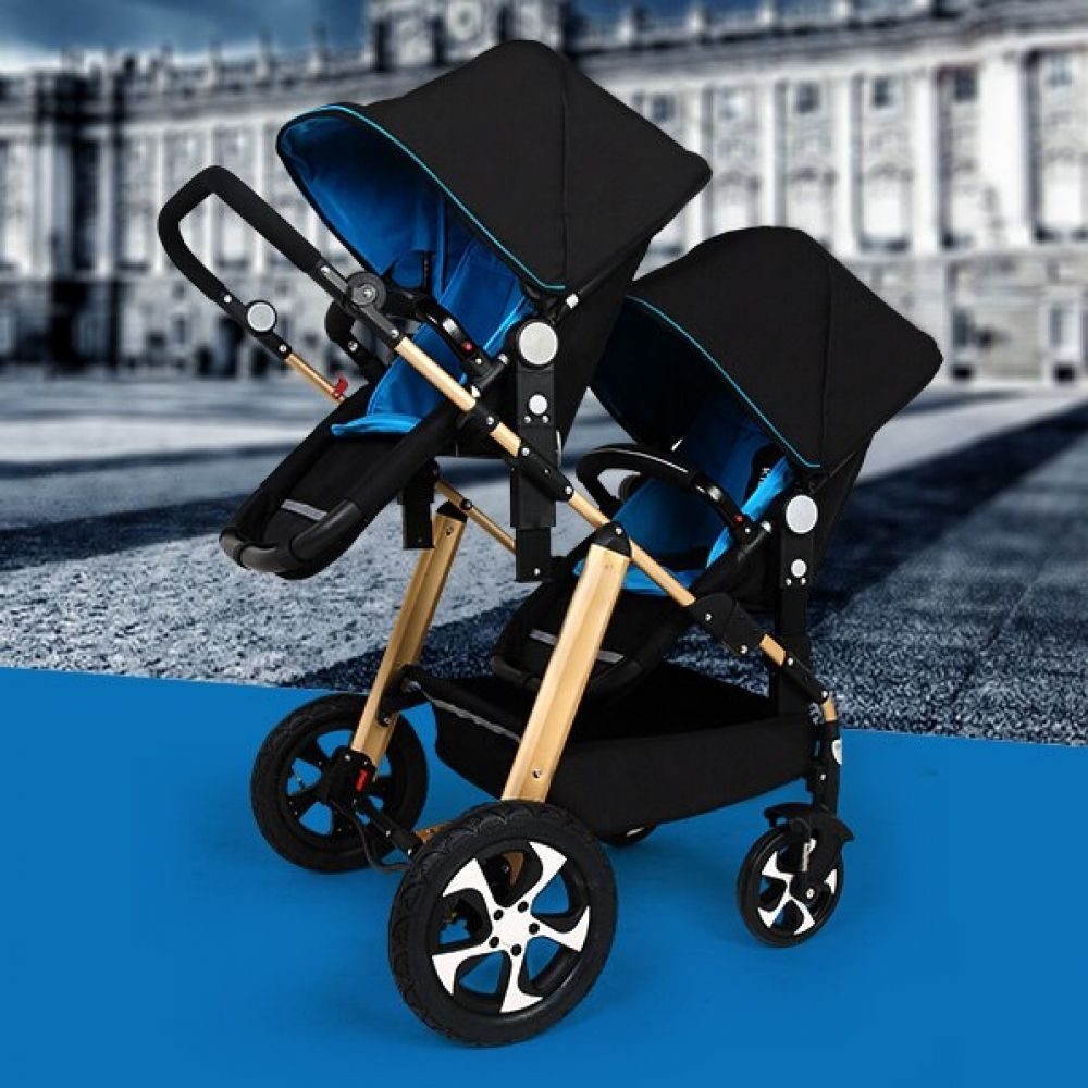 Twins Double Baby Stroller Two High Landscape Seat Buggy