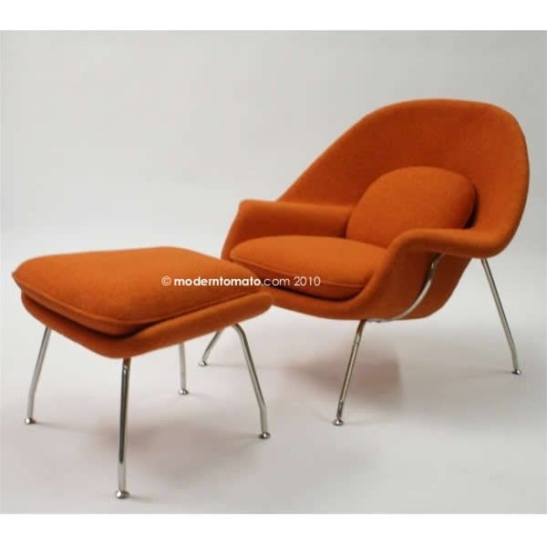 orange modern chair with ottoman for the home pinterest