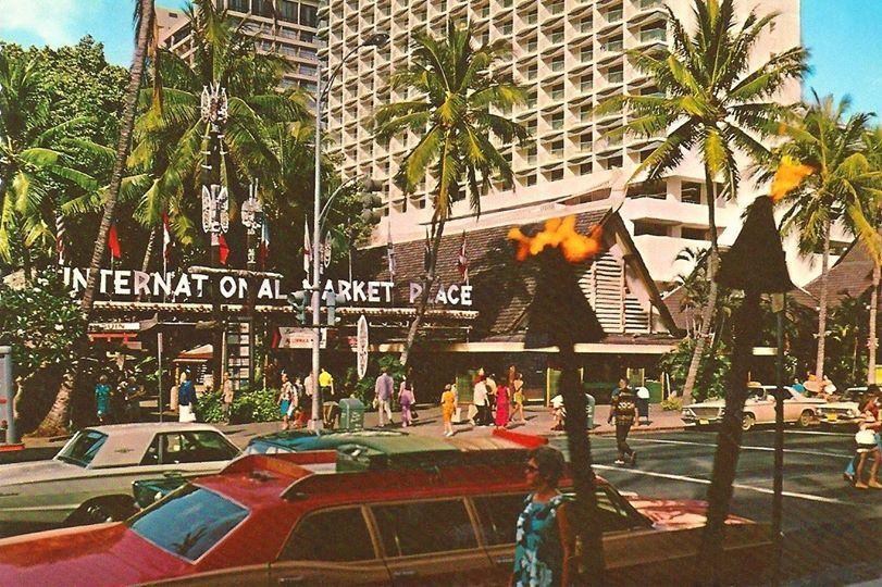 vintage International Marketplace Waikiki postcard Oahu