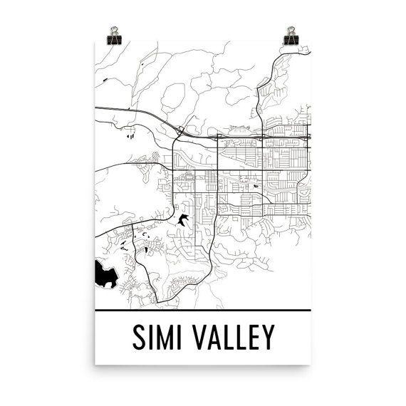 Simi Valley Map Simi Valley Art Simi Valley Print Simi Valley