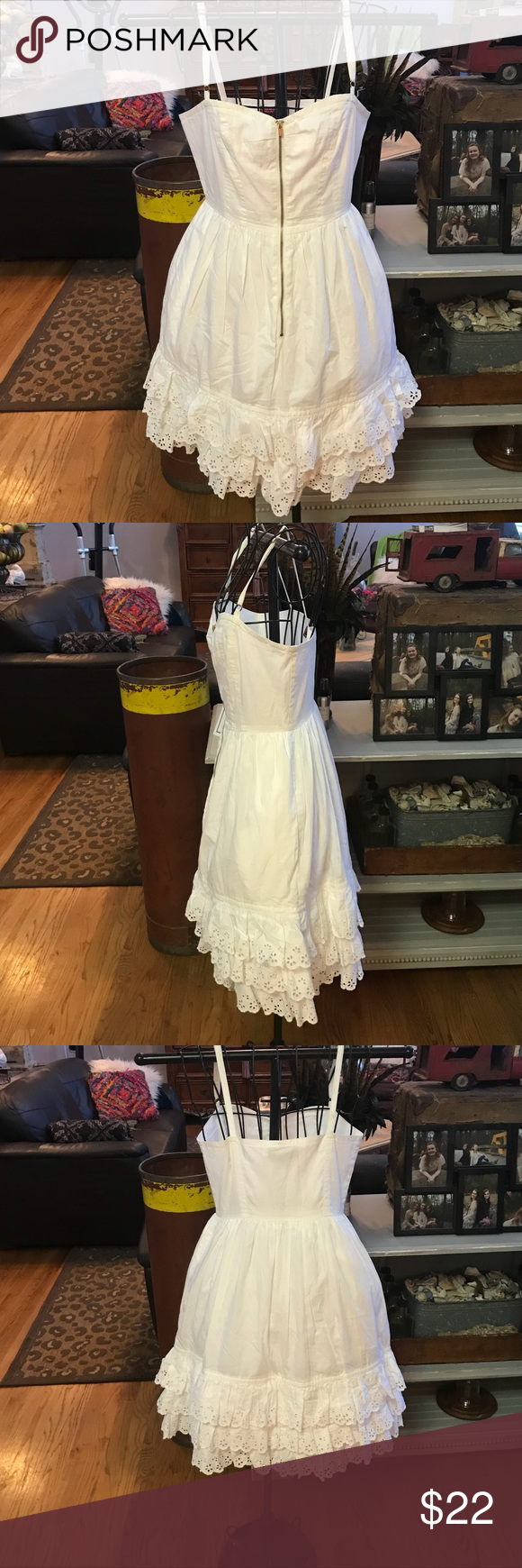 a1d598a19acec White Dress w/ Eyelet ruffles   Tracy Feith White Dress w/ eyelet ruffles  by Tracy Feith for Target. Spaghetti Straps. Gold zipper up back. Size 3.