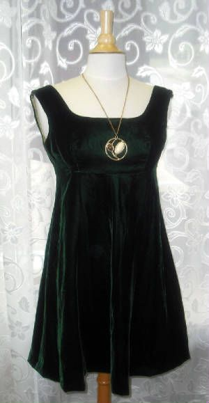 60's Dark Green Velvet Empire Tent Dress