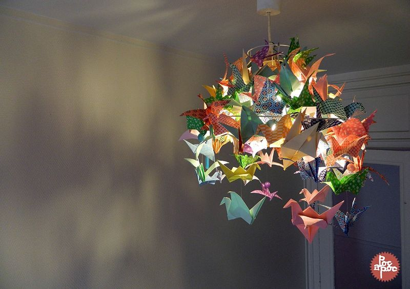 lustre origami grue papier japonais poc a poc d coration. Black Bedroom Furniture Sets. Home Design Ideas