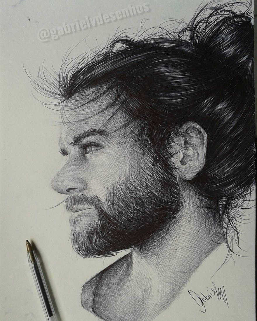Realistic Drawing Black and White Realistic Ballpoint Pen Drawings ...