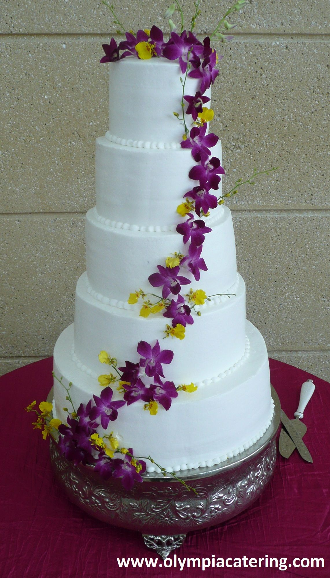 wedding cakes northern new jersey%0A Round Wedding Cake  Cascading Flowers  Five Tiers