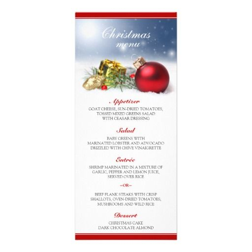 Christmas Dinner Menu Cards, Featuring A Red Christmas Ornament   Free  Christmas Dinner Menu Template  Free Christmas Dinner Menu Template