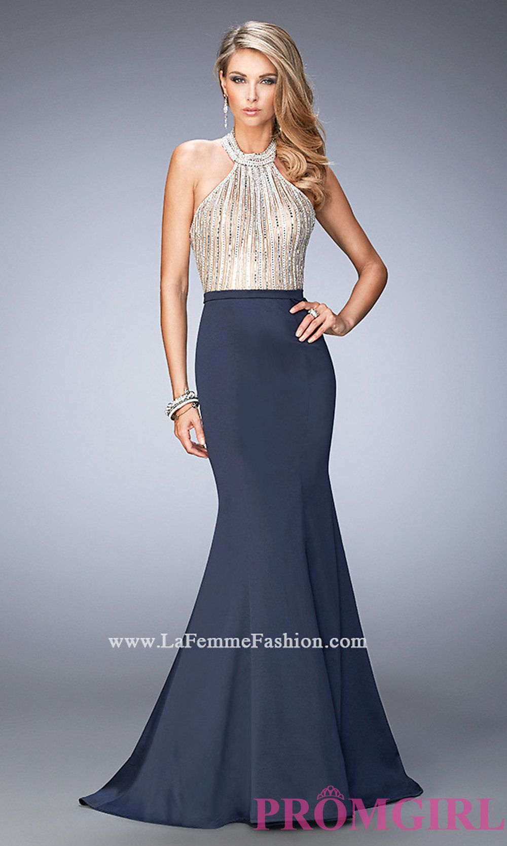 High Neck Halter Top Prom Dress by La Femme Style: LF-22177 | Prom ...
