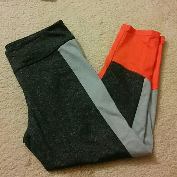 New F21 workout crops Never worn! Dark gray, light gray, and orange gym crops. Made of nylon, polyester and spandex. Forever 21 Pants