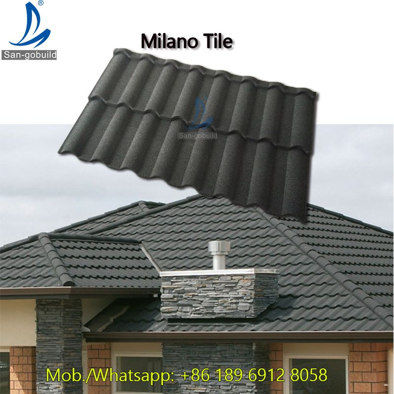 Milano Types Roof Tile Brick Red Color Stone Coated Roof Tiles In