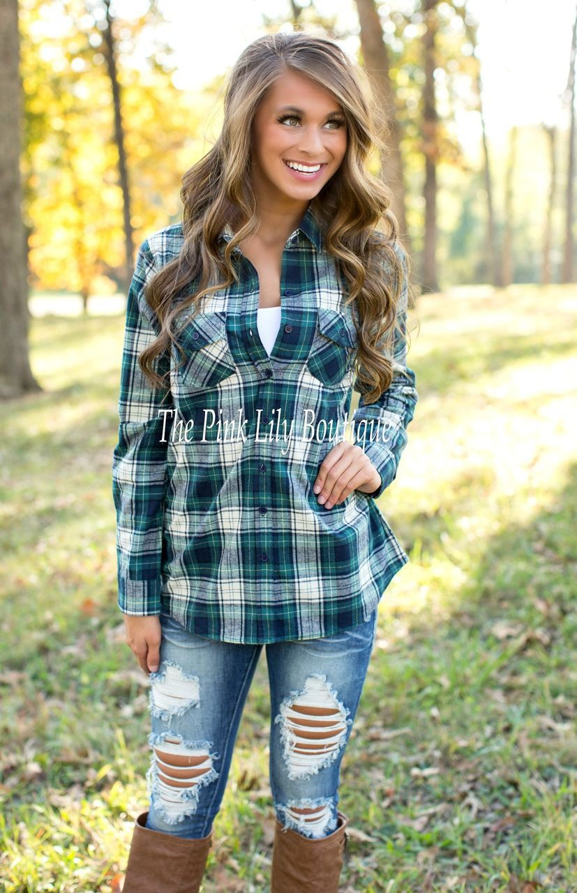 Flannel shirt for girls  The Pink Lily Boutique  See Like Me Green Plaid Shirt