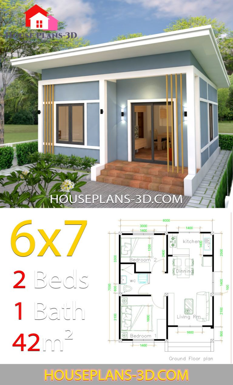 Simple House Plans 6x7 With 2 Bedrooms Shed Roof House Plans 3d Diy House Plans House Plans Simple House Plans