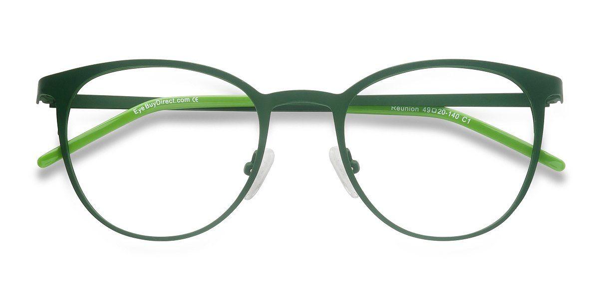 aad483752c99 Matte Green Round Prescription Eyeglasses-Large Full-Rim Metal Eyewear -Reunion