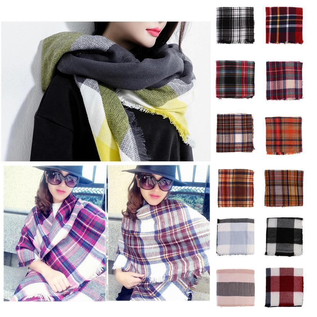 Warm Tassels Plaid Cashmere Scarf Check Wool Shawl Pashmina Wraps for Women