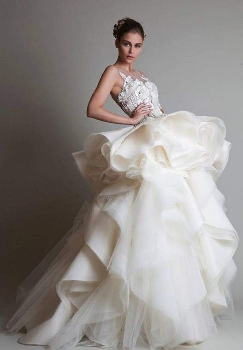 Spectacular Very full layered ruffled skirt on gorgeous high fashion bridal gown This is by famous bridal gown designer Krikor Jabotian Couture