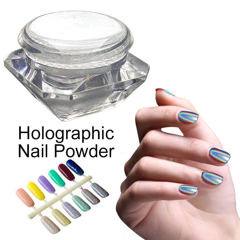 1グラム/箱3dレーザーホロディスプレイ粉輝く虹ミラークローム爪ダストパーフェクトホログラフィック効果グリッターパウダーネイルアート