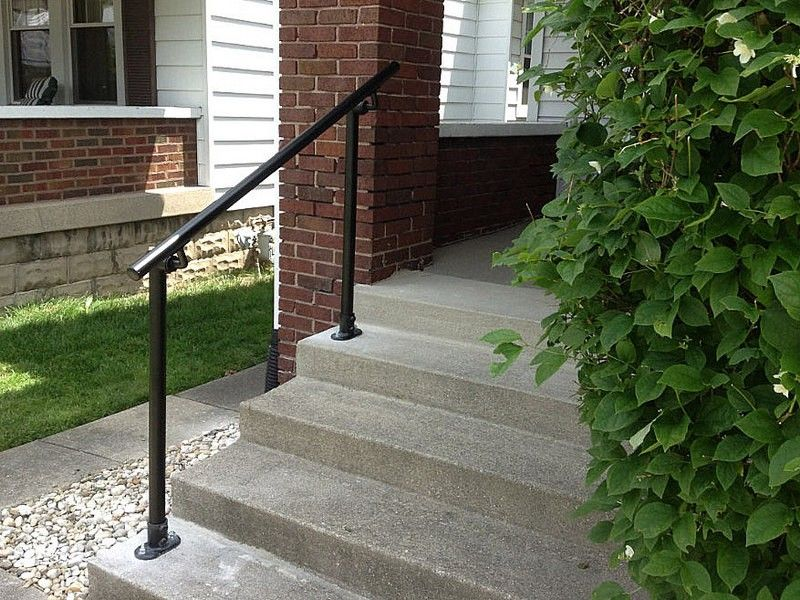 Surface 518 Outdoor Stair Railing Easy Install Handrail | Exterior Handrails For Steps | Cast Iron | 3 Step | Brushed Nickel | Front Step Railing Pipe | Garden