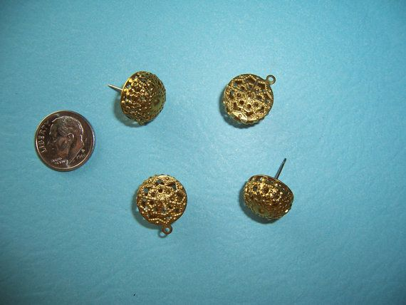3 pairs Vintage Filigree Round Domed Button by bebebluebird, $3.25