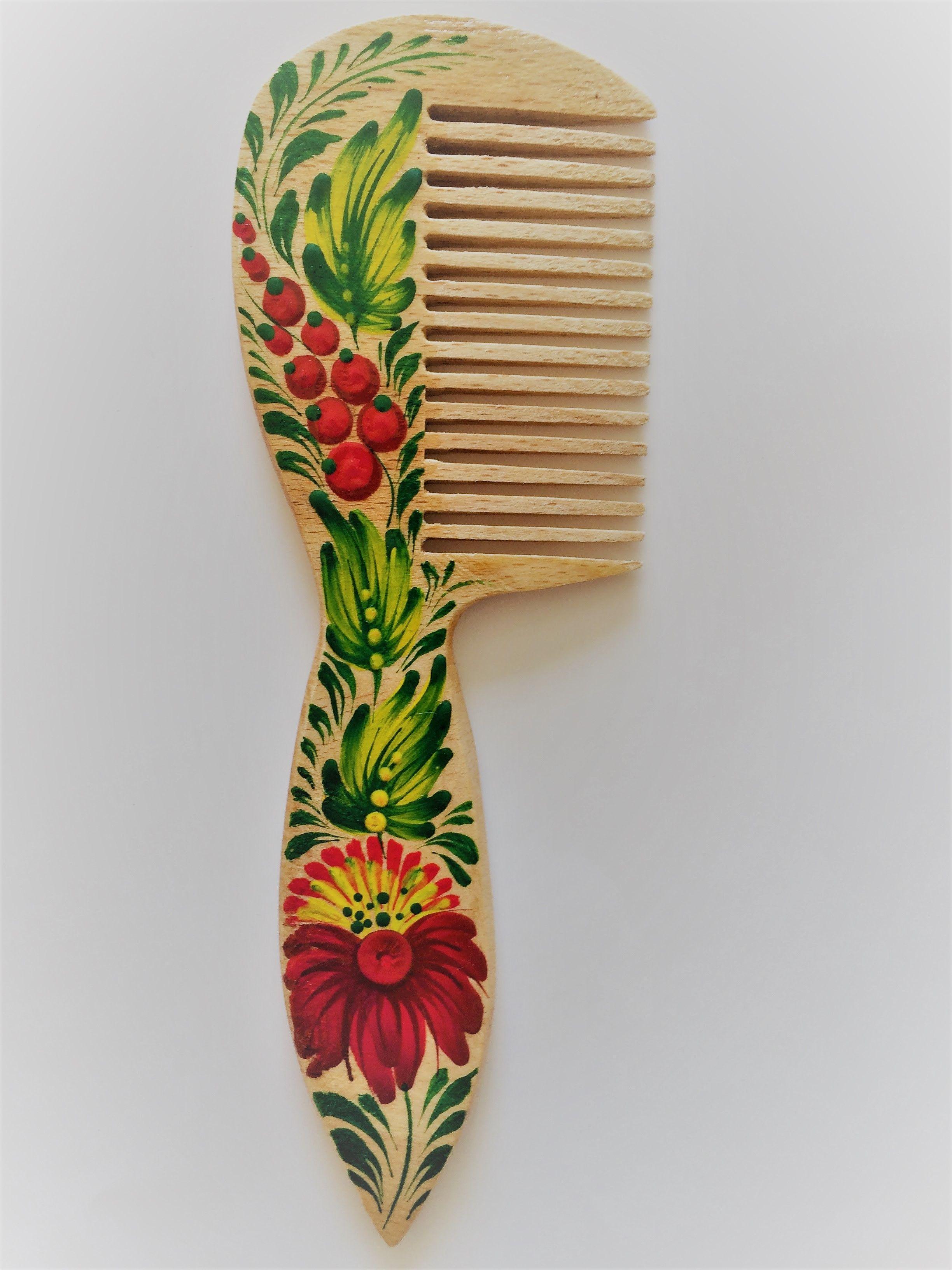 Деревянный гребень, расческа ручная роспись Петриковка Аленький цветочек