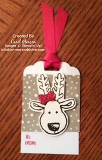 Reindeer gift tag with the Stampin' Up! Cookie Cutter Christmas bundle.